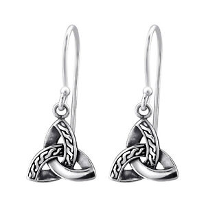 Solid 925 Sterling Silver Drop Earrings Celtic Triquetra New inc Velvet Gift Bag