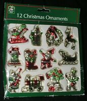 """Set of 12 Small Vintage Christmas Ornaments 2"""" Metallic Red Green Silver In Box"""
