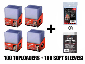 100 Ultra Pro Regular Toploaders Top Loaders and 100 Sleeves - Brand New