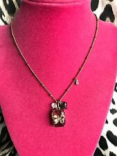 Betsey Johnson Two Tone Fuchsia Pink Crystal Gold Bow Jewel Necklace VERY RARE