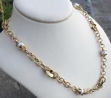 18K Italian Chain Link Necklace w/Genuine Pearls