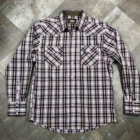 Rodeo Clothing Mens Premium Western Cowboy Pearl Snap Long Sleeve Plaid Shirt XL