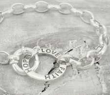 Faith Hope Love Sterling Silver Bracelet with Bolt Ring Clasp