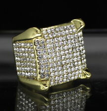 Mens Iced Square Pinky Ring Cz Band 14k Gold Plated Hip Hop Fashion