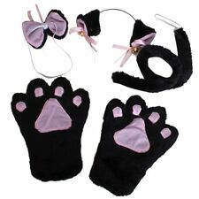 Cat Cosplay Set Paw Claw Gloves Ear Hairclip Tail Bow Tie Costume ED
