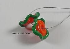 ROA Lampwork 2 Amber & Green Ruffle Disc USA Handmade Art Glass Beads SRA