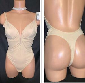 36 NWT Donna Karan Thong Plunge Bra Bodysuit Teddy Shaper Open Snap Hi Cut Sissy