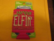 Can Coolie Keeps Drinks Cold Holiday Christmas Cooler Merry Elfin Christmas New