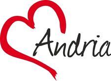 """Adesivo per auto """" ANDRIA """"(Città) cuore Sticker ca.9x12 cm taglio contorno"""