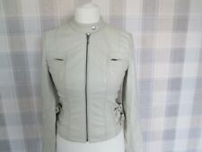 Ladies NEXT Biker Style REAL LEATHER Jacket Cream Size 8/10