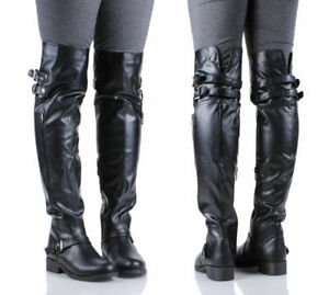 Black Color Faux Leather Military Combat Womens Over the Knee Boots Size 6.5