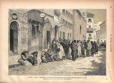 Evangélistes Distribution Place San Lorenzo in Lucina Rome Italie GRAVURE 1877