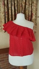 RED COTTON ONE SHOULDER FRILL  SUMMER TOP FROM NEXT SIZE 18  SUMMER £32