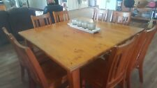 Large 8 seater,  9 piece solid pine wood, square dining room table