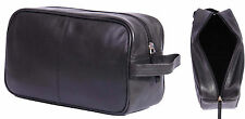 Real LEATHER WASH BAG PER UOMO VIAGGIO DA TOILETTE DA BARBA KIT Borsa Cosmetici Nero