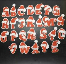ALPHABET LETTERS EMBROIDERED IRON ON BADGE SEW ON PATCH RED A-Z APPLIQUE XMAS