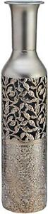 Metal Floor Vase Embossed Large Tall Decorative Silver Dried Faux Blooms 20 in