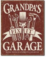 Grandpa's Garage Metal Tin Sign Fix It Home Garage Shop Wall Decor Father New
