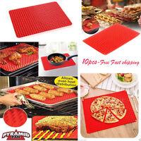 10X Pyramid Pan Non Stick Fat Reducing Silicone Cooking Mat Baking Tray Sheets H