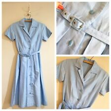 True Vintage 1950s Sky Blue Cotton Full Skirt Belted Shirtwaister Dress UK6 W25""