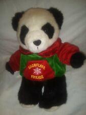"""Dan Dee Christmas Holiday 2002 Snowflake Friends 13"""" Plush Stuffed Panda Bear"""