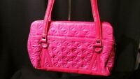 """Vera Bradley """"Hot Pink/Floral"""" """"Whitney-Style"""" Zippered Purse / Pre-Owned"""