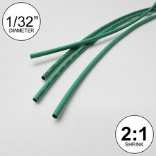 "1/32"" ID Green Heat Shrink Tube 2:1 ratio wrap (6x9"" = 4 ft) inch/feet/to 0.8mm"