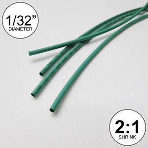 "1/32"" ID Green Heat Shrink Tube 2:1 ratio wrap (6x9"" = 4 ft) inch/feet/to 0.8mm"