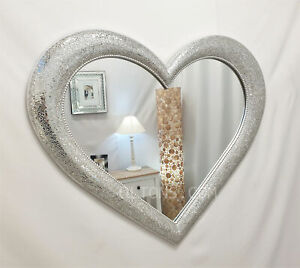 Large Crackle Mosaic Love Heart Wall Mirror Silver Sparkly Glass Frame 110x90cm