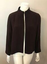 Eileen Fisher Brown Crinkle Knit Mandarin Collar Jacket Blazer Size XS