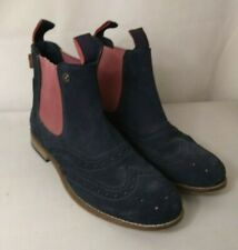 SUPERDRY Ladies boots navy blue suede flat Chelsea ankle boots UK size 6