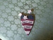 "Sweet Land of Liberty - hanging wooden patriotic heart with stars  - 4""L x 3""W"