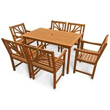 Gartengarnitur Gartenmöbel Set 7-teiliges Set 6 Gartenstühle Holz wie Teak