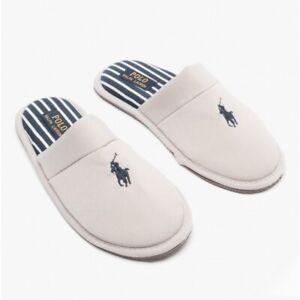 Polo Ralph Lauren KLARENCE Mens Stylish Pique Cotton Mule Slippers Grey