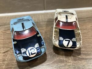 Vintage Scalextric 2x C77 Ford GT 100% Original Project Cars - 1960s Tri Ang