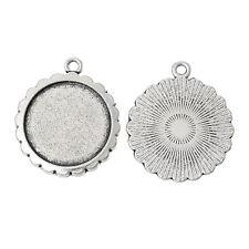 5 pcs - Antique silver round Cabochon Resin base setting 20mm internal