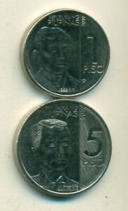 2 DIFFERENT COINS from the PHILIPPINES - 1 & 5 PISOS (ALL DATING 2019)