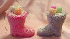 2 Vtg Mid Century Pastel Ice Light Glitter, Plastic Figural Boots Xmas Ornaments