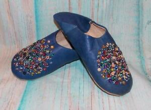 Fair Trade Leather Babouche Slippers Hand Made Super Soft Leather From Morocco