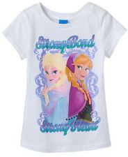 NWT Sz 4 Disney Frozen Shirt Anna Elsa Girls White Strong Bond