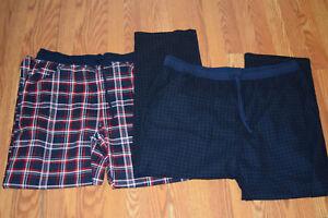 NWT Mens NAUTICA Sleepwear 2 Pair Red Navy Plaid Fleece Pajama Pants L