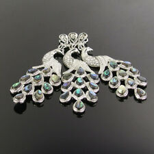 Charming Natural Shell Crystal Beads Peacock Pendant