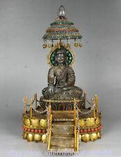 14 inch Old Tibet Crystal Gold Gem Shakyamuni Amitabha Buddha Umbrella Statue