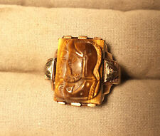 10 K gold Mens Double Image Tiger Eye Cameo Ring