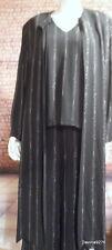stunning Elinette floaty 3 piece suit jacket trousers tank vest black silver 20