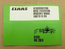 CLAAS WS 280 D Kreiselschwader Betriebsanleitung Lagerexemplar NEU