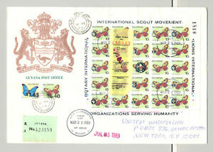 Guyana 1989 10¢ Butterflies M/S of 25 Silver o/p on Registered Commercial Cover
