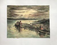 Aquarell  Abendsonne am Ufer See Ostsee Hafen unbekannter Monogrammist