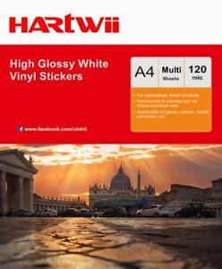 A4 High Glossy White Vinyl Waterproof Sticker Adhesive Film Inkjet Print Only