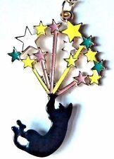 MAGIC BLACK CAT NECKLACE cute kitty sparklers fireworks stars balloon pendant H6